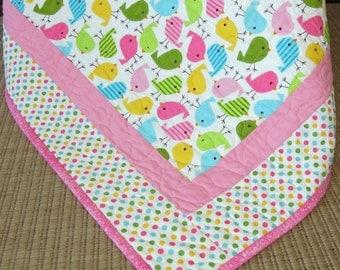 Baby Girl Quilt Blanket Handmade Colorful Birds