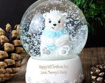 Personalised Glass Polar Bear Snow Globe Christmas Present Gift Love Birthday