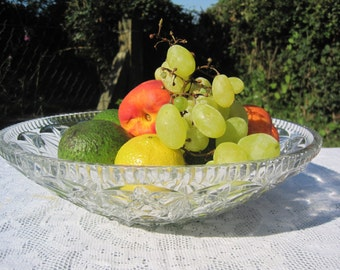 French Vintage Cut Glass Salad/Desert/Fruit Bowl – Shallow and Wide