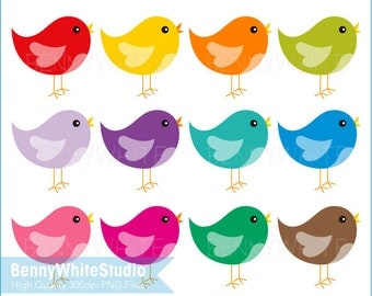 12 Baby Birds Clip Art. For Personal and Small Commercial Use. B-0093