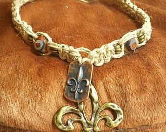 Hemp Necklace with Metal Fleur de Lis