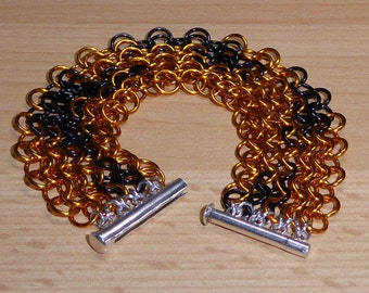 Tiger Stripes - bracelet european 4 in 1 orange black chainmaille sterling silver clasp