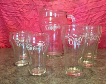Glass Coke Pitcher with 6 matching glasses