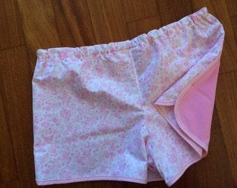 Pajama shorts pink flowers/pink