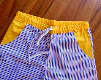 Pajama bottom purple, lilac and yellow stripes/yellow