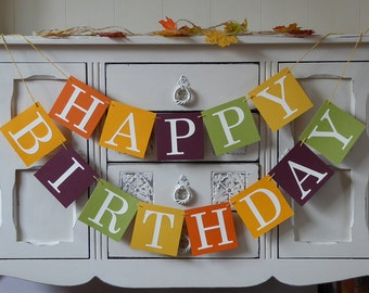Happy birthday banner bunting autumn and fall party decoration