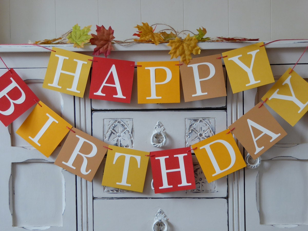Happy birthday autumn bunting banner little pumpkin candy