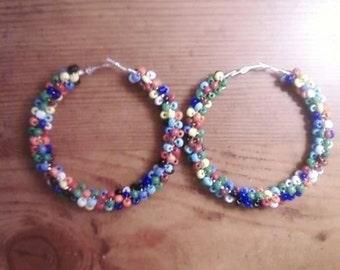 Colorful Beaded Hoop Earrings Seed bead hoops