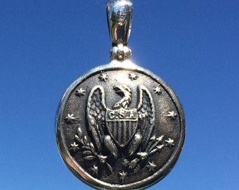 """Sterling Silver """"CS1"""" Confederate Staff Officer Button Pendant - Metal Detector"""