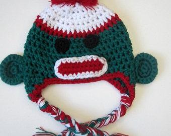 Baby sock monkey Crochet Hat baby photo prop
