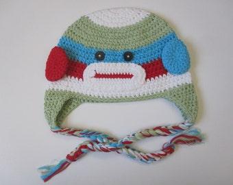Baby sock monkey Crochet Hat baby photo prop baby girl
