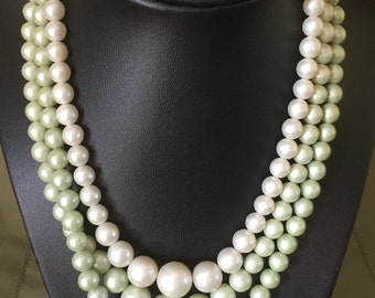 Vintage 3 Strand Faux Pearls Green 1940s