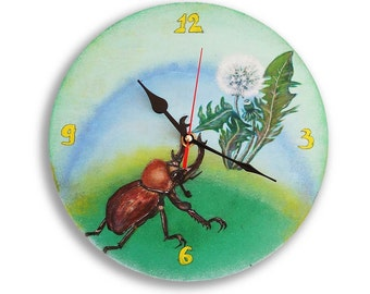 Hand Painted Wall Clock Handmade Wooden Clock Unique Clock Bug Stag-Beetle Beetle Dandelion Blowball, Irish Daisy, Decor Painting Art Nature