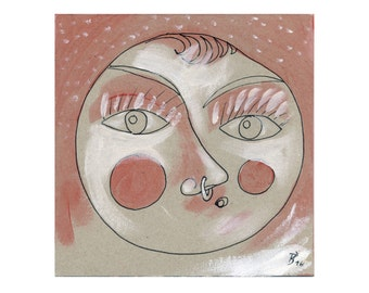 """15/15 """"full moon - young face with nose ring"""" image, art, painting"""