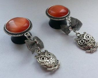 Little owl plugs orange silver