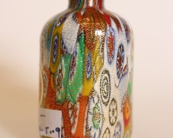 Vintage minature Murano Milliefiori bottle richly colored with gold fleck