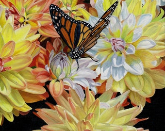 Dahlias with Butterfly, Giclee Print, Wall Art, Fine Art, Decor
