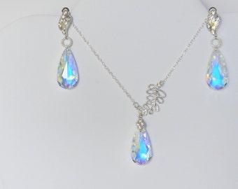 Elegant Swarovski Aurora Borealis Crystal Wedding/Prom Necklace & Matching Earrings