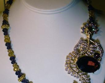 Halloween Skeletal Mermaid Queen Crystal Necklace