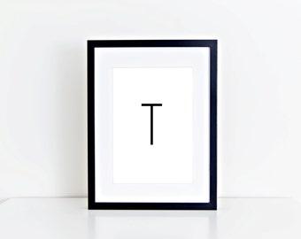 T Letter, Monogram, Home Decor, Alphabet, Typography, 8x10 Instant Download, Printable artwork, Digital Art, Printable Wall Art