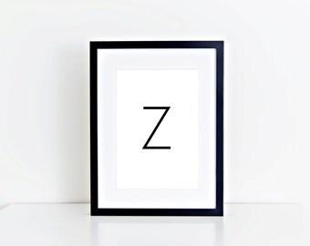 Z Letter, Monogram, Home Decor, Alphabet, Typography, 8x10 Instant Download, Printable artwork, Digital Art, Printable Wall Art