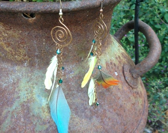 Sustainable Feather Earrings- Spiral
