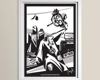 clown (good morning) / art print by peripetia