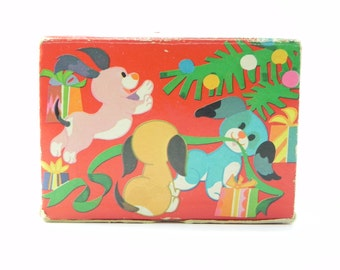 Vintage Avon Ruff Tuff & Muff Soap Set 1960's New in Box Never Been Used Collectible Crouching Puppies Soap Pink Yellow Blue FREE SHIPPING