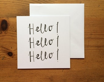 Hello! Hello! Hello! Letterpress Greetings Card - Single Card or Pack of 5