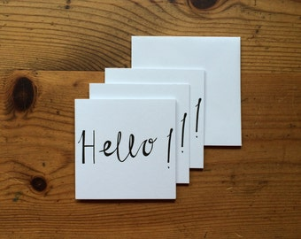 Small Hello! 3 Pack Letterpress Black Greetings Cards
