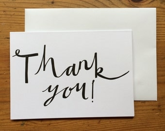 Thank You Letterpress Black Greetings Card - Single Card or Pack of 5