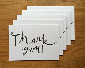Thank You 5 Pack Letterpress Black Greeting Cards