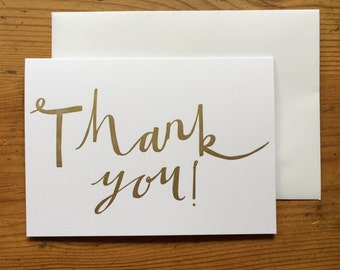 Thank You Letterpress Gold Greetings Card - Single Card or Pack of 5