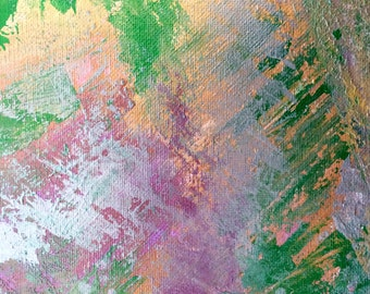 metallic purple silver green gold acrylic painting on canvas, wall hanging, decoration, wall decor, room decor