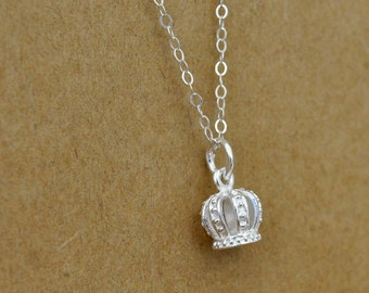 Dainty everyday wear, women's jewelry, sterling silver crown charm, simple, layer necklace