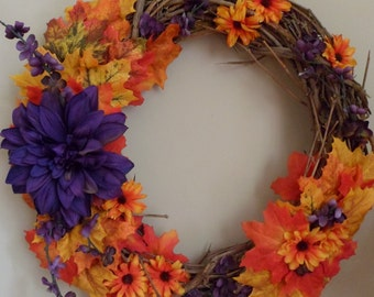 Orange and Purple Fall Wreath