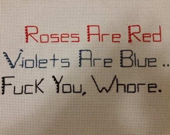 Roses are Red - Subversive Cross Stitch