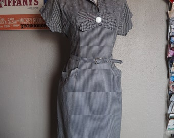 Vintage 1950s black and white gingham cotton dress