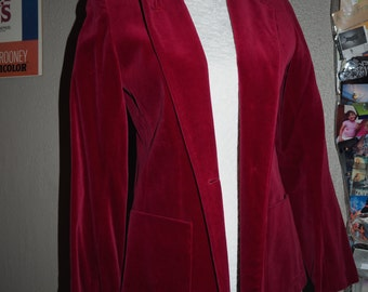 1980s Vintage Dark red velvet jacket