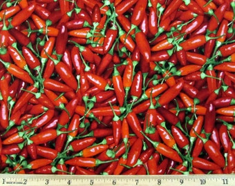 Vegetable Small Red Chili Peppers Fabric