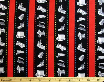 Monoploy Token Pieces Stripe Fabric From Quilting Treasures