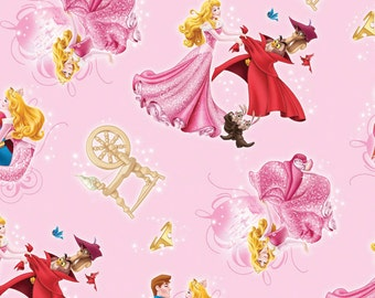 Disney's Sleeping Beauty Character Toss Fabric Light Pink Background Fabric
