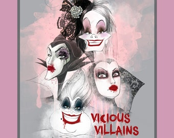Disney Villians Fabric Panel