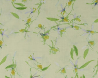 White/Purple/Yellow Flowers with Yellow Background Fabric