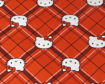 Hello Kitty Plaid Fabric Red