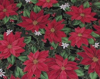 Christmas Poinsetta Fabric Black From Quilting Treasures