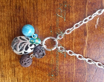 Diffuser Jewelry, Essential Oil, Filigree teardrop necklace