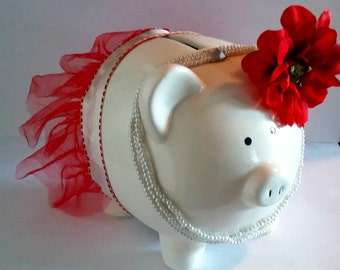 Tutu piggy bank~with pearls and flower