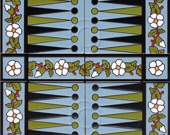 Decorative Tile Backgammon Board, Game Board
