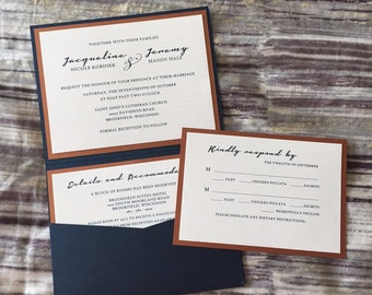 Navy/Copper Petite Pocket Fold Wedding Invitation, texuted cardstock-DEPOSIT